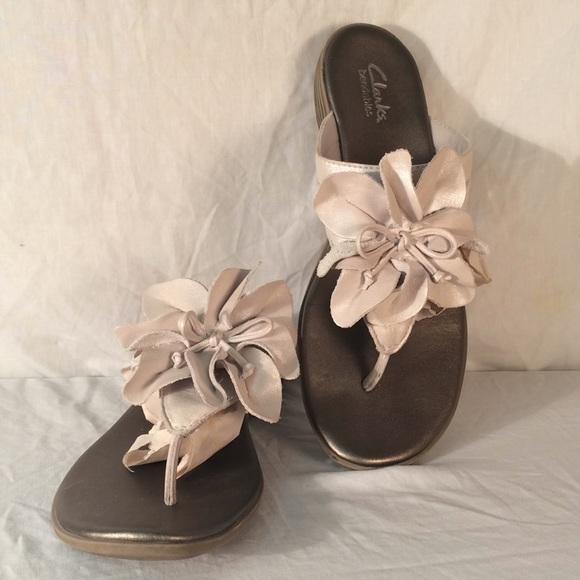 3529806cc7e Clarks Shoes - CLARKS Bendables leather cream flower sandal shoes